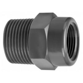 """Riduzione lunga PVC-U d 1/2""""(M) X 3/4""""(F)"""