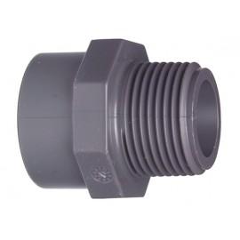 "Male adaptor PVC-U d 20/28 x 3/8"""