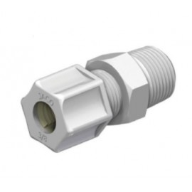 "MALE CONNECTOR PVDF 3/8"" (9,5/10,0 mm) x 1/2"" NPT"
